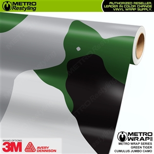 Jumbo Cumulus Green Tiger Camouflage Vinyl Car Wrap Film