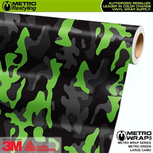 Large Metro Green Camouflage Vinyl Vehicle Wrap Film