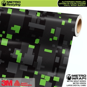 Large Digital Metro Green Camouflage Vehicle Vinyl Wrap Film