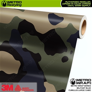 Large Cumulus Militant Blue Camouflage Vinyl Car Wrap Film