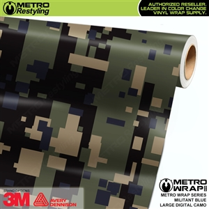 Large Digital Militant Blue Camouflage Vehicle Vinyl Wrap Film