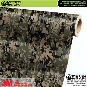 Digital Militant Charcoal Camouflage Vinyl Car Wrap Film