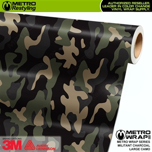 Large Militant Charcoal Camouflage Vinyl Car Wrap Film