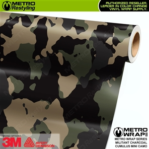 Mini Cumulus Militant Charcoal Camouflage Vinyl Car Wrap Film