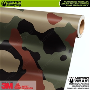 Large Cumulus Militant Copper Camouflage Vinyl Car Wrap Film