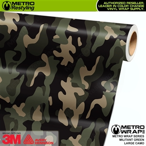 Large Militant Green Camouflage Vinyl Car Wrap Film