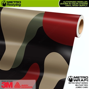 Jumbo Militant Red Camouflage Vinyl Car Wrap Film