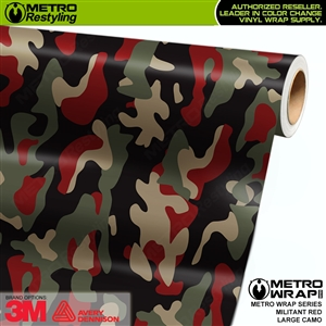 Large Militant Red Camouflage Vinyl Car Wrap Film