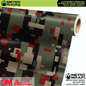 large digital militant red camouflage vinyl wrap