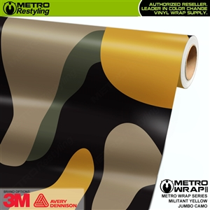 Jumbo Militant Yellow Camouflage Vinyl Car Wrap Film