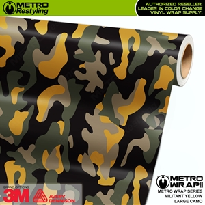 Large Militant Yellow Camouflage Vinyl Car Wrap Film