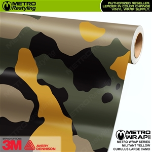 Large Cumulus Militant Yellow Camouflage Vinyl Car Wrap Film