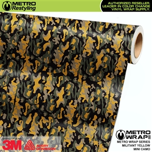 Mini Militant Yellow Camouflage wrap car vinyl film