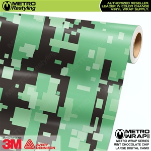Large Digital Mint Chocolate Chip Camouflage Vehicle Vinyl Wrap Film