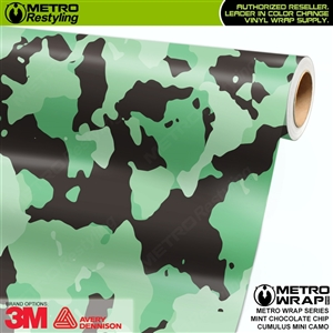 Mini Cumulus Mint Chocolate Chip Camouflage Vinyl Car Wrap Film