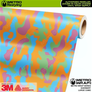 Large Sherbert Camouflage Vinyl Vehicle Wrap Film