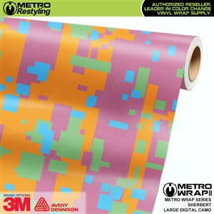 Large Digital Sherbert Camouflage Vehicle Vinyl Wrap Film