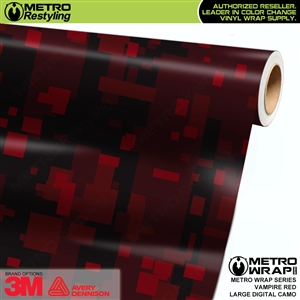 Large Digital Vampire Red Camouflage Vehicle Vinyl Wrap Film