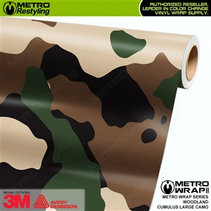 Large Cumulus Woodland Camouflage Vinyl Car Wrap Film
