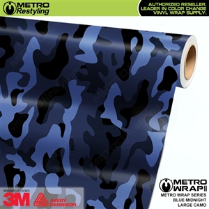 Large Blue Midnight Camouflage Vinyl Wrap Film