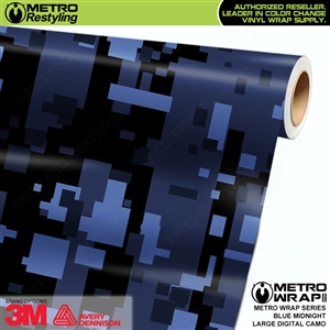 Large Digital Blue Midnight Camouflage Car Wrap Vinyl Film