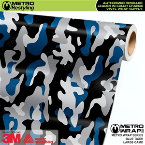 Large Blue Tiger Camouflage Vinyl Car Wrap Film