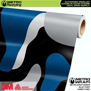 Jumbo Blue Tiger Camouflage Vehicle Vinyl Wrap Film