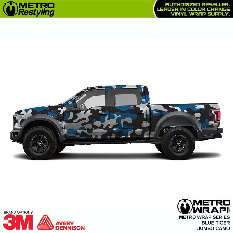 Jumbo Blue Tiger Is A Camo Car Wrap Vinyl Made Up Of Blue