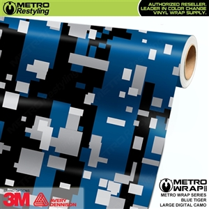 Large Digital Blue Tiger Camouflage Vinyl Automotive Wrap Film