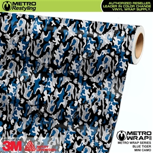 Mini Blue Tiger Camo car wrap vinyl film