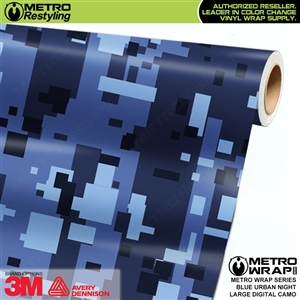 Large Digital Blue Urban Night Camouflage Vinyl Vehicle Wrap Film