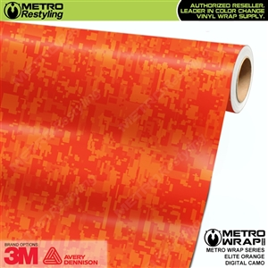 Digital Elite Orange Camouflage Vinyl Car Wrap Film