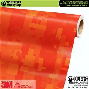 Large Digital Elite Orange Camouflage Vinyl Car Wrap Film