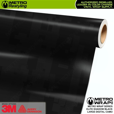 Large Digital Elite Shadow Black Camouflage Vinyl Vehicle Wrap Film