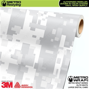 Large Digital Elite White Camouflage Vinyl Wrap Film