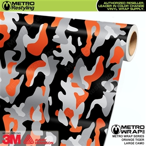 Large Orange Tiger Camouflage Vinyl Vehicle Wrap Film