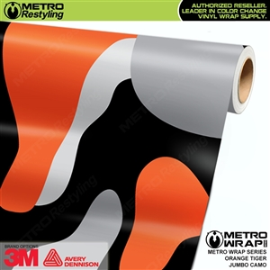 Jumbo Orange Tiger Camouflage Vinyl Car Wrap Film