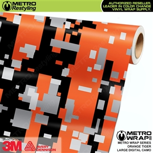 Large Digital Orange Tiger Camouflage Vehicle Vinyl Wrap Film