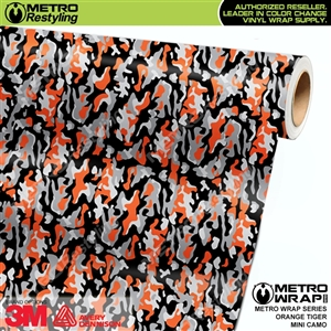 Mini Orange Tiger Camouflage Vinyl Vehicle Wrap Film