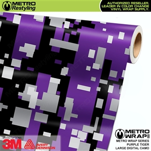 Large Digital Purple Tiger Camouflage Vinyl Car Wrap Film