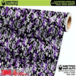Mini Purple Tiger Camouflage Vinyl Car Wrap Film