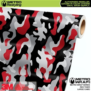 Large Red Tiger Camouflage Vinyl Car Wrap Film