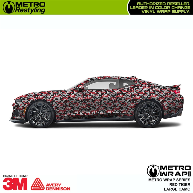 Large Red Tiger Camo Is A Long Lasting Vehicle Vinyl Wrap