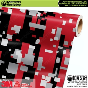 Large Digital Red Tiger Camouflage Vinyl Car Wrap Film