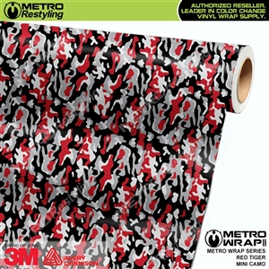 Mini Red Tiger Camouflage Vinyl Car Wrap Film
