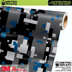 Large Digital Urban Blue Camouflage Vinyl Car Wrap Film