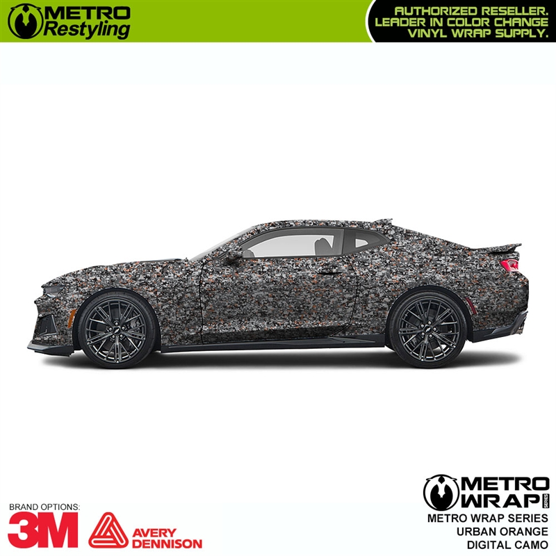 Digital Urban Orange is a camo car wrap vinyl is composed of