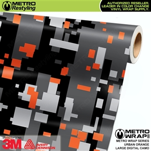 Large Digital Urban Orange Camouflage Vinyl Car Wrap Film