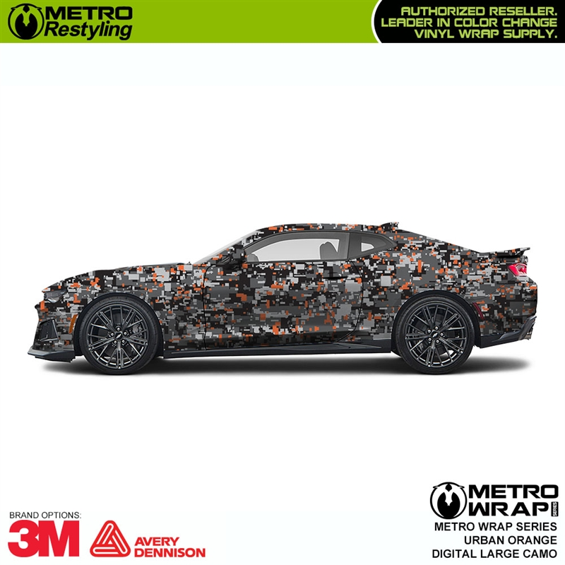 Digital Urban Orange Camouflage Vinyl Car Wrap
