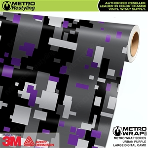 Large Digital Urban Purple Camouflage Vinyl Car Wrap Film